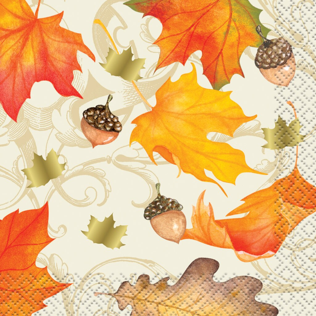 Foil Gold Fall Leaves Thanksgiving Drink Napkins | Thanksgiving Supplies