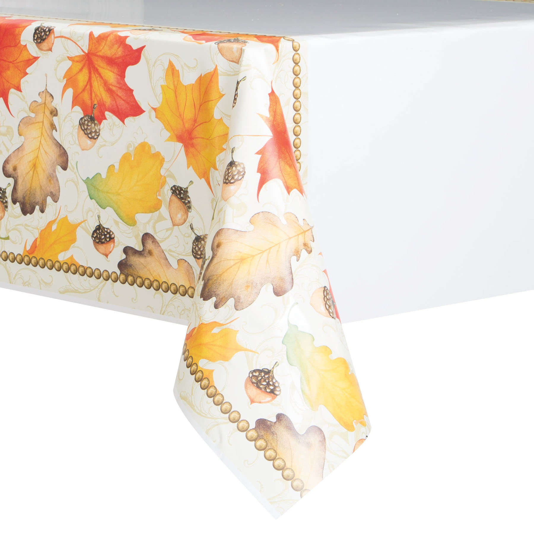 Gold Fall Leaves Thanksgiving Plastic Tablecloth