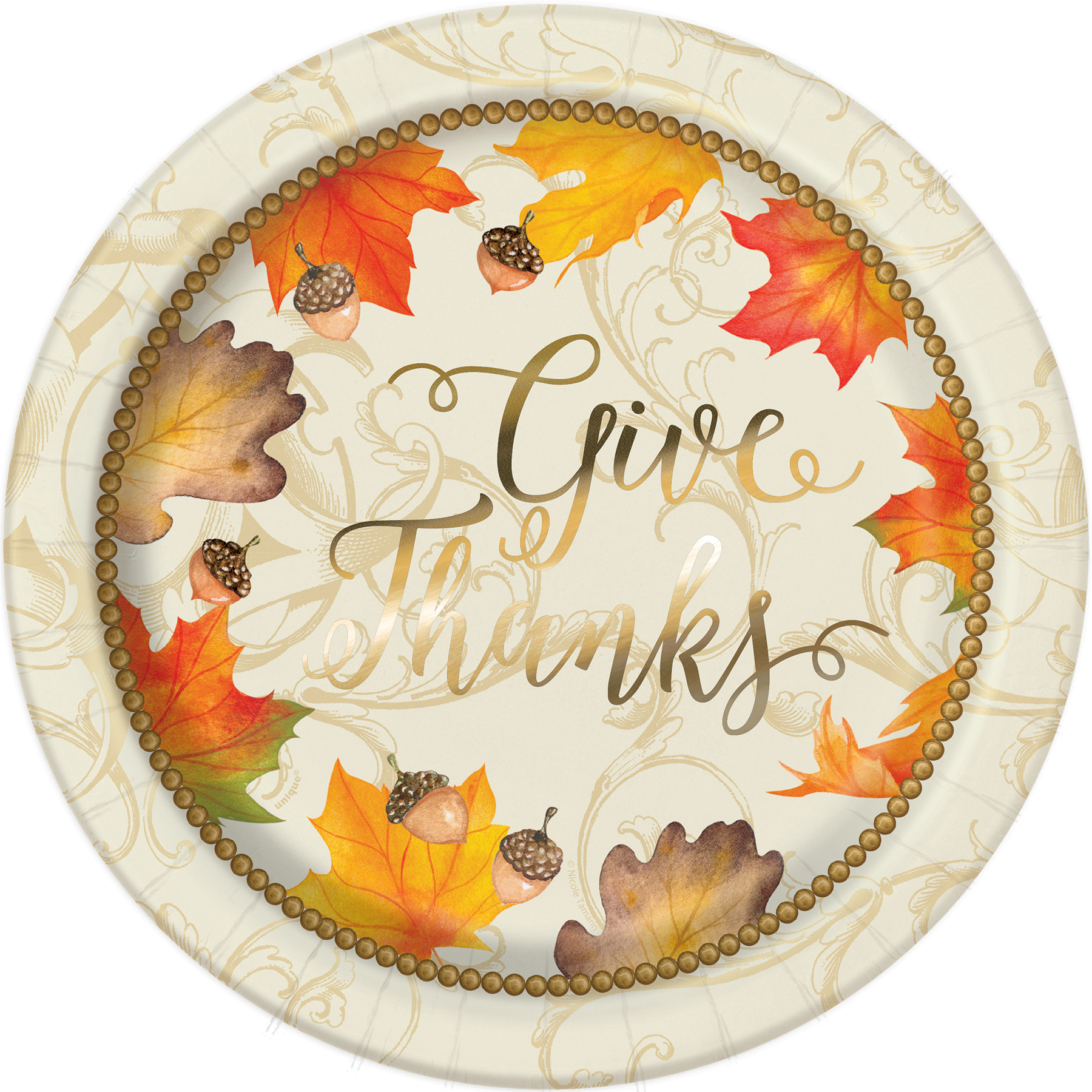 9\  Foil Gold Fall Leaves Thanksgiving Party Plates ...  sc 1 st  Michaels Stores & Foil Gold Fall Leaves Thanksgiving Paper Plates | Thanksgiving ...