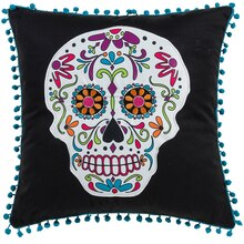 Day of the Dead Printed Skull Pillow By Ashland