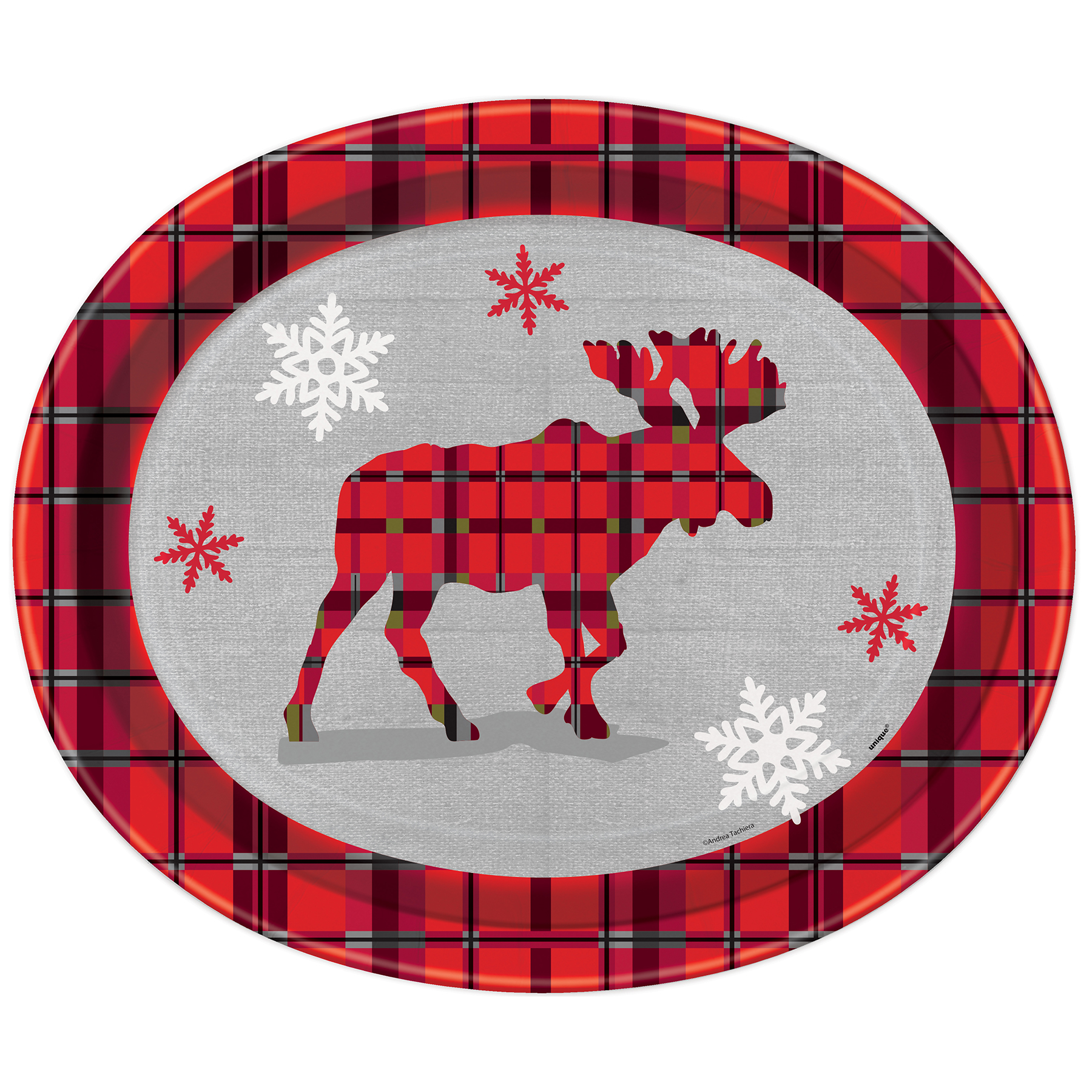 12  Oval Rustic Plaid Christmas Dinner Plates ...  sc 1 st  Michaels Stores : christmas dinner plates cheap - pezcame.com