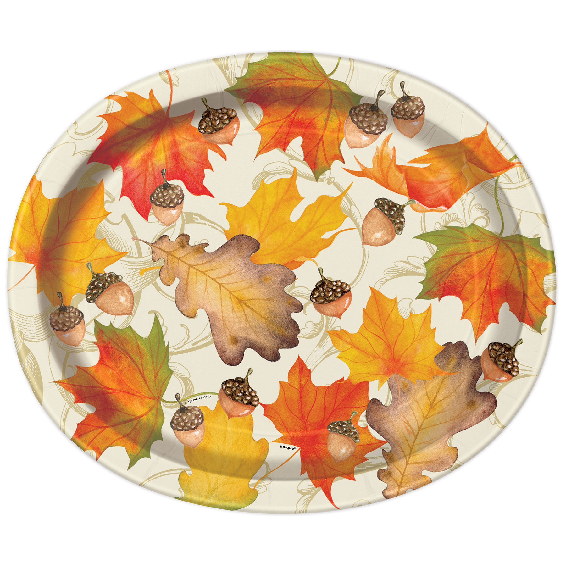 12  Oval Gold Fall Leaves Dinner Plates ...  sc 1 st  Michaels Stores & Oval Gold Fall Leaves Paper Plates | Fall Party Supplies