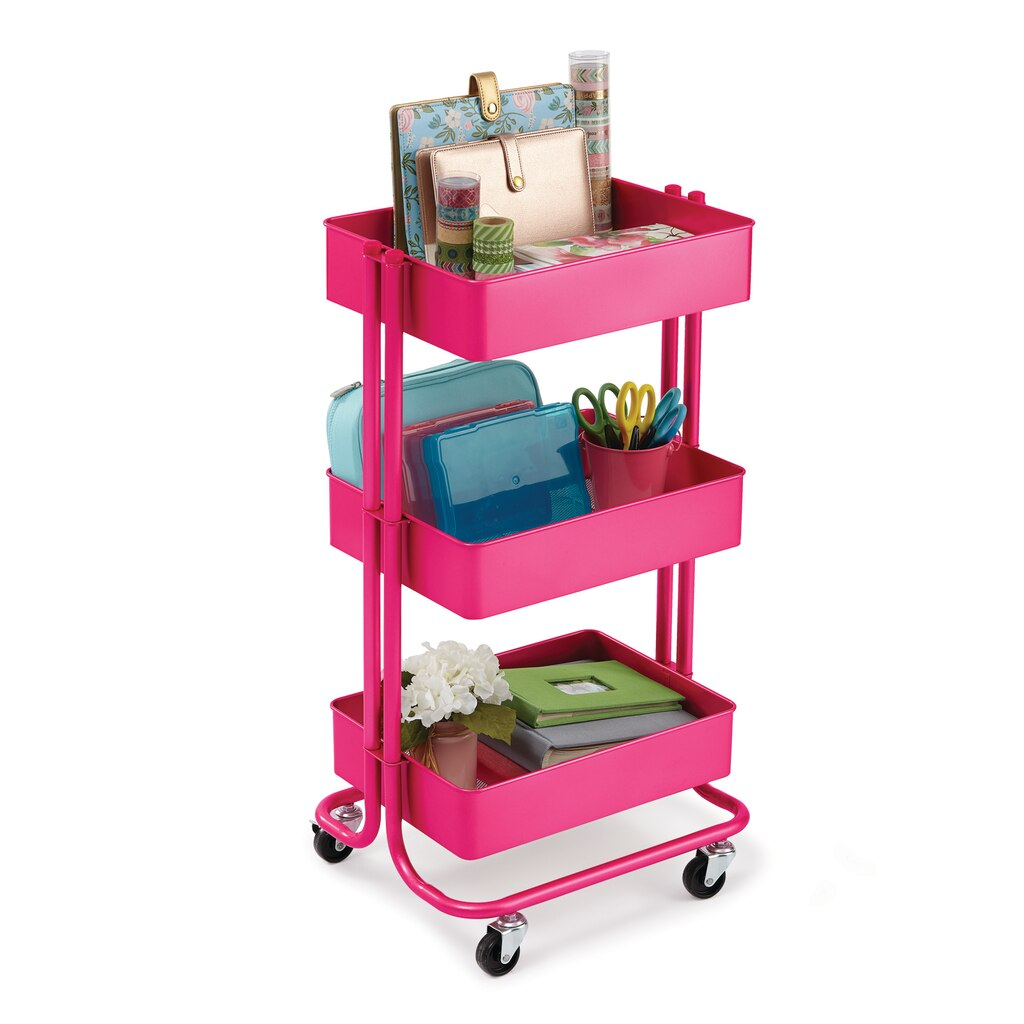 Find The Bright Pink Lexington 3 Tier Rolling Cart By