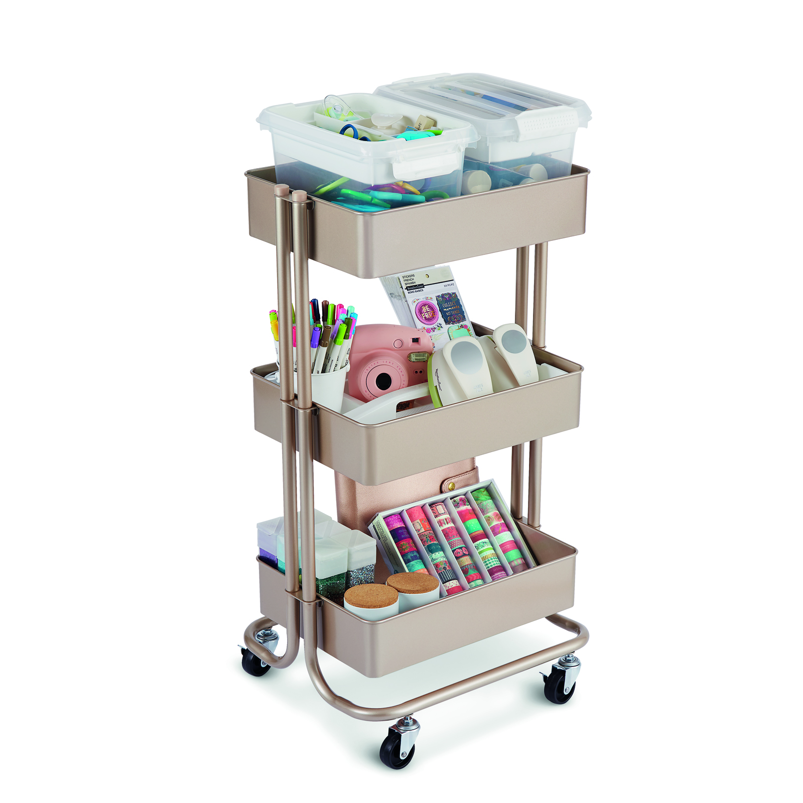 champagne lexington 3tier rolling cart by