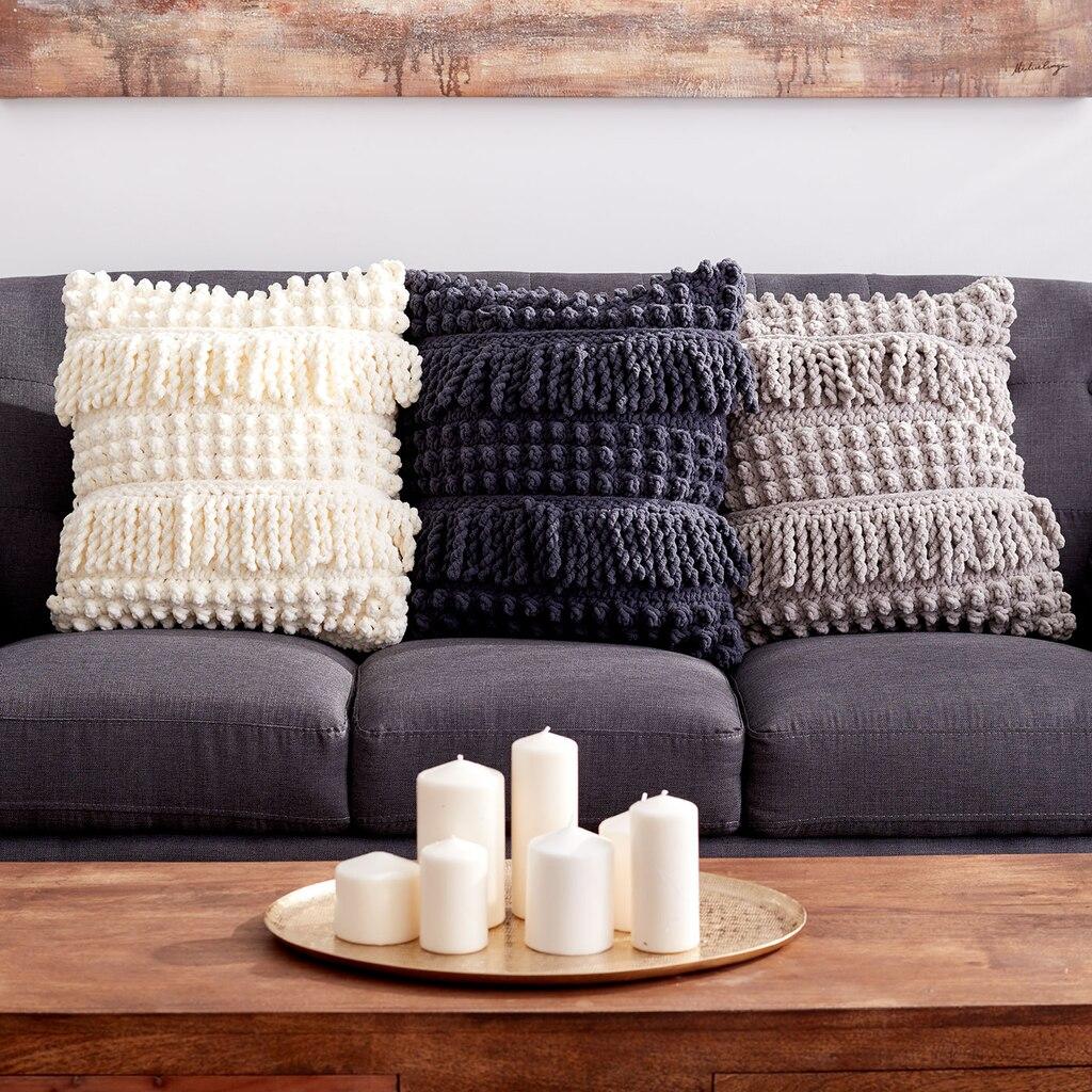 Bernat 174 Blanket Bobble And Fringe Crochet Pillow