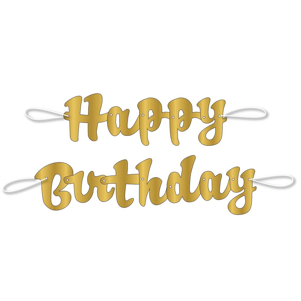 Gold Cursive Happy Birthday Banner | Birthday Party Decorations