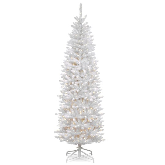 Buy The 7 Ft Pre Lit White Kingswood Fir Pencil Artificial  - 7 Ft Artificial Christmas Trees
