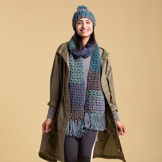 Caron 174 Tea Cakes Crochet Winter Hat In Oolong