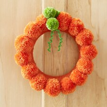 Pom Pom Pumpkin Wreath, medium