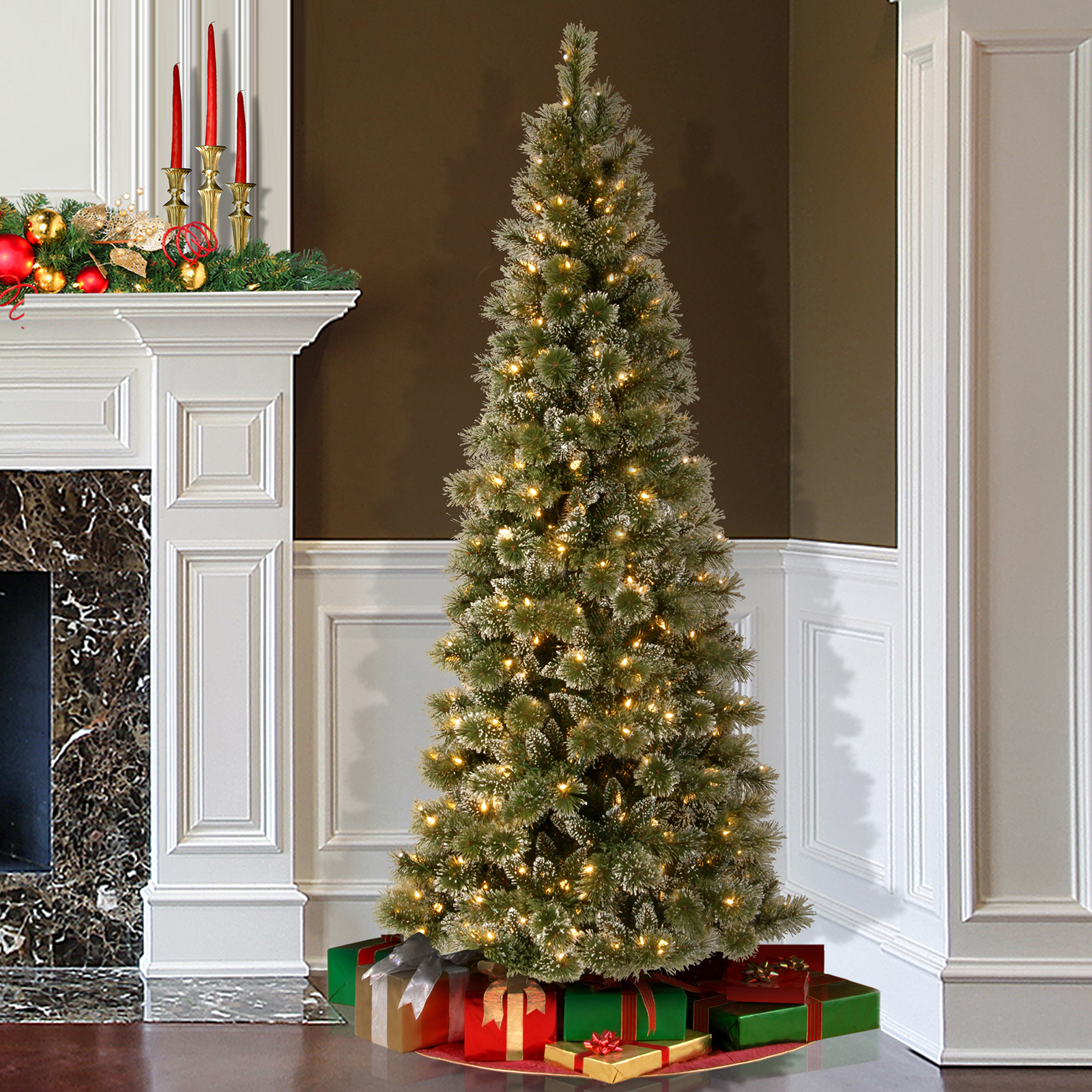 Buy the 6.5 ft. Glittery Bristle Pine Slim Artificial Christmas ...