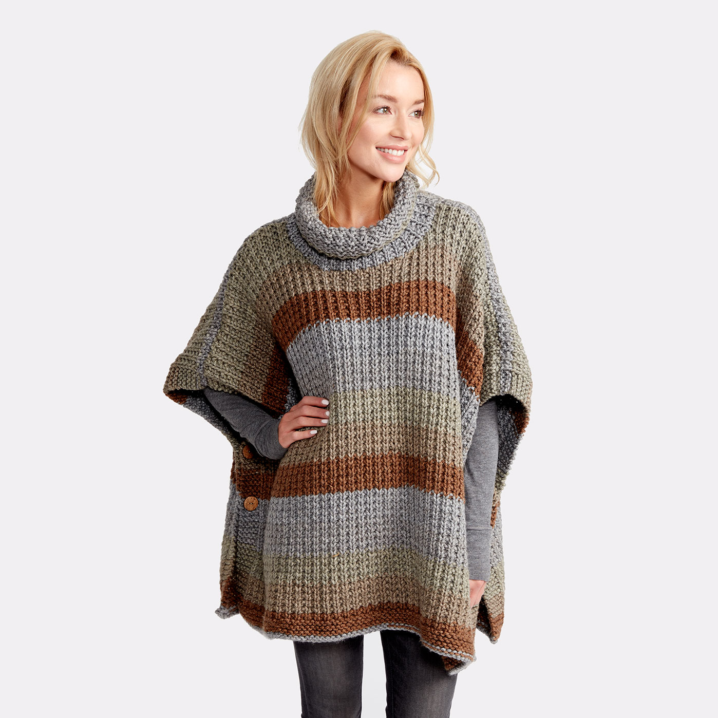 Beginner Knitting Poncho : Caron tea cakes™ cozy up knit poncho