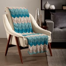 Caron® Big Cakes™ Catch Some Waves Knit Blanket in Blue Macaroon, medium