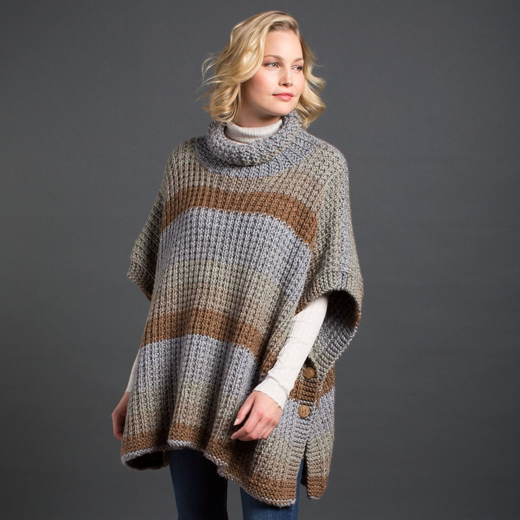 Caron 174 Tea Cakes Cozy Up Knit Poncho In English Breakfast