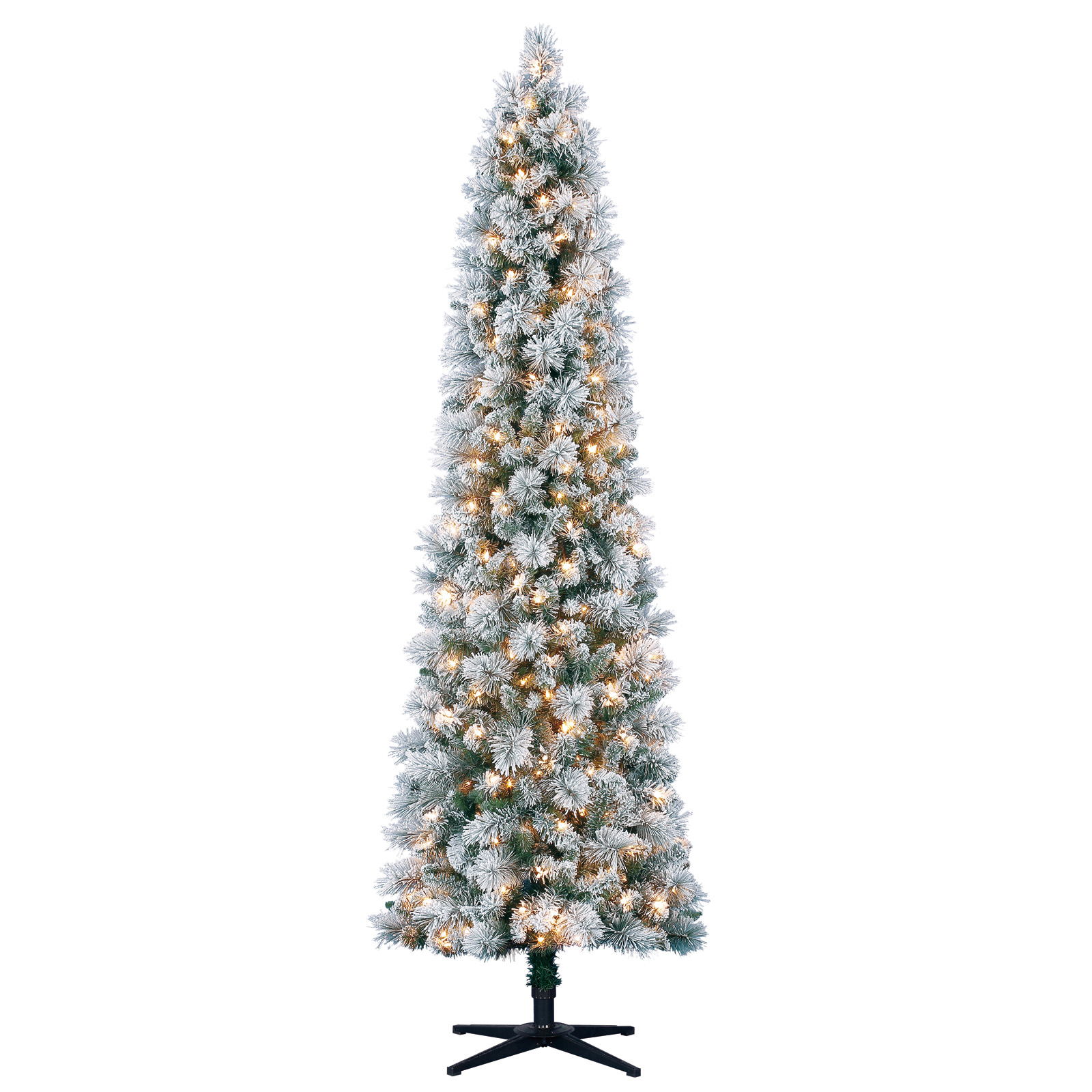 7 Ft. Pre-Lit Mixed Flocked Slim Artificial Christmas Tree, Clear ...