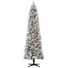 7 Ft Pre Lit Mixed Flocked Slim Artificial Christmas Tree