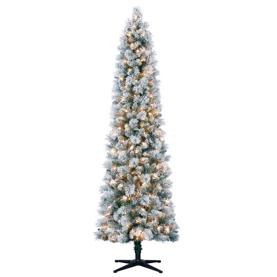 7 Ft Pre Lit Mixed Flocked Slim Artificial Christmas Tree Clear  - 7 Ft Artificial Christmas Trees
