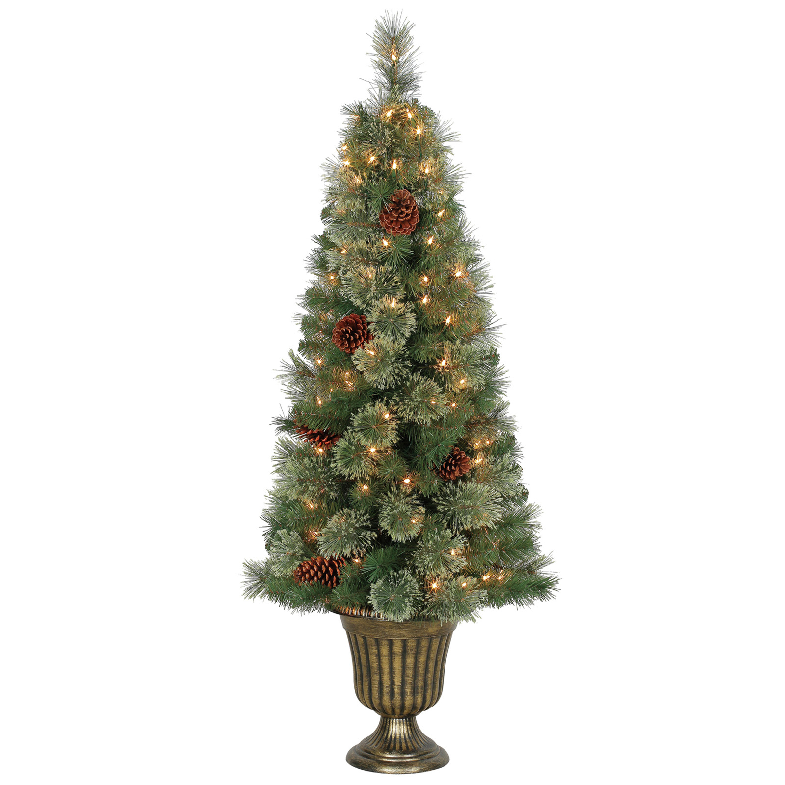 Buy the 4.5 Ft. Pre-Lit Camden Cashmere Potted Artificial ...