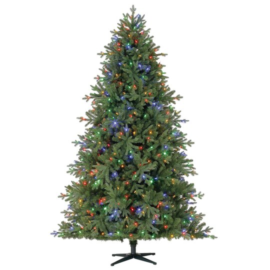 7 5 ft pre lit hinged spruce artificial tree lv color changing led