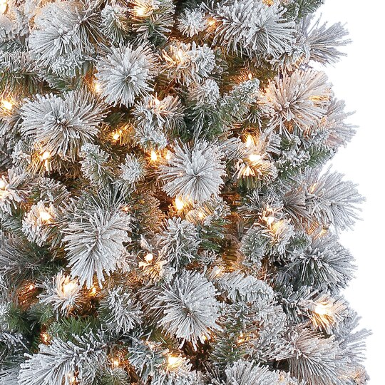 Artificial Christmas Trees Clearance: 7 Ft. Pre-Lit Mixed Flocked Slim Artificial Christmas Tree