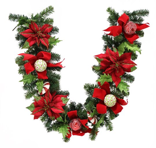 handcrafted led poinsettia garland with pine needles candy canes - Michaels Christmas Garland