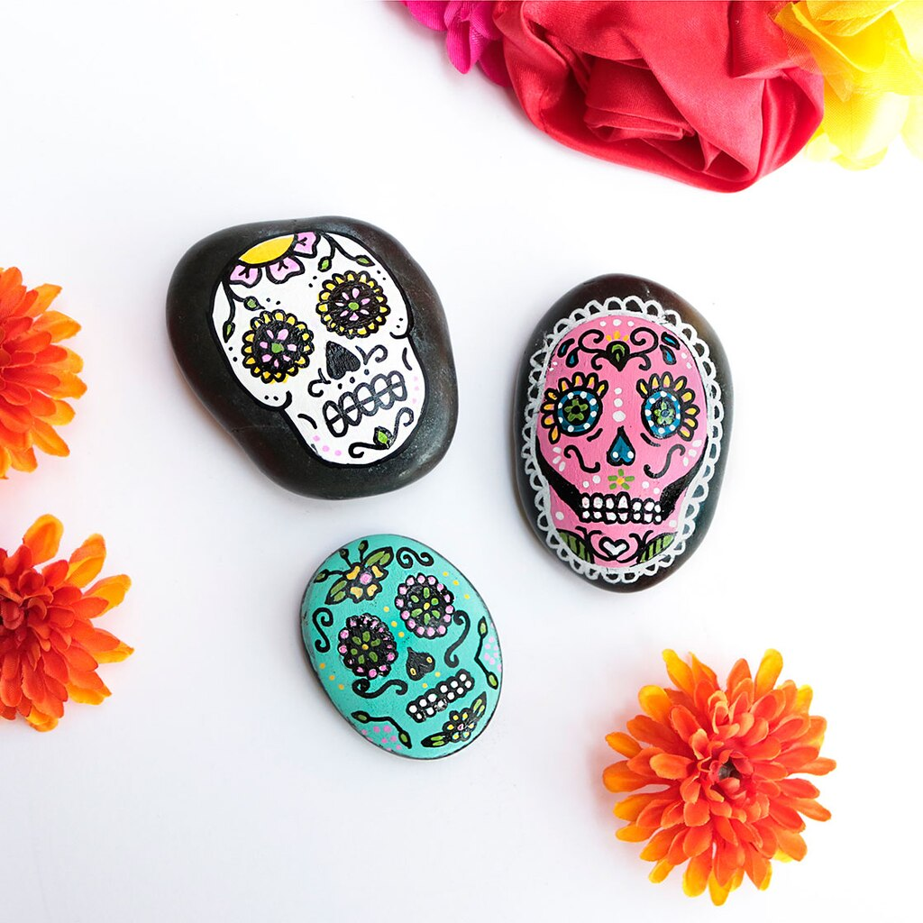 Day of the Dead Painted Rocks