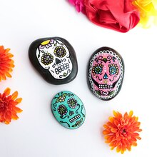 Day of the Dead Painted Rocks, medium