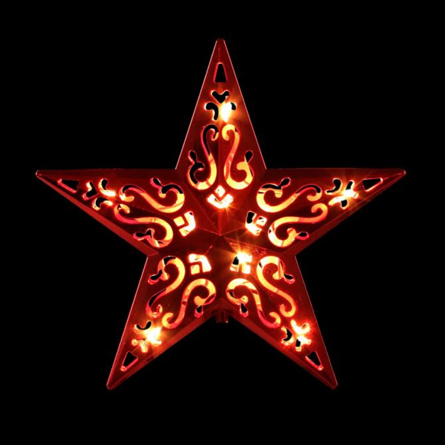 8 Lighted Red Cutout Design Decorative Star Christmas Tree