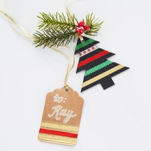 Red, Green and Gold Washi Tape Christmas Tags, medium