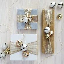 Gold Merry Mini Gift Wrap, medium