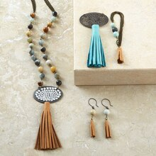 Leather Tassel Beaded Necklace, medium