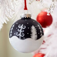 Whimsical White Christmas Tree Scene Chalkboard Ornament, medium