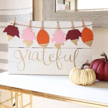 Grateful Leaf Banner Sign, medium