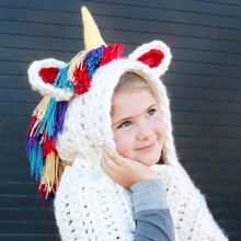 Fluffy Unicorn Crochet Hooded Scarf, medium