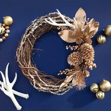 Metallic Antler Christmas Wreath, medium