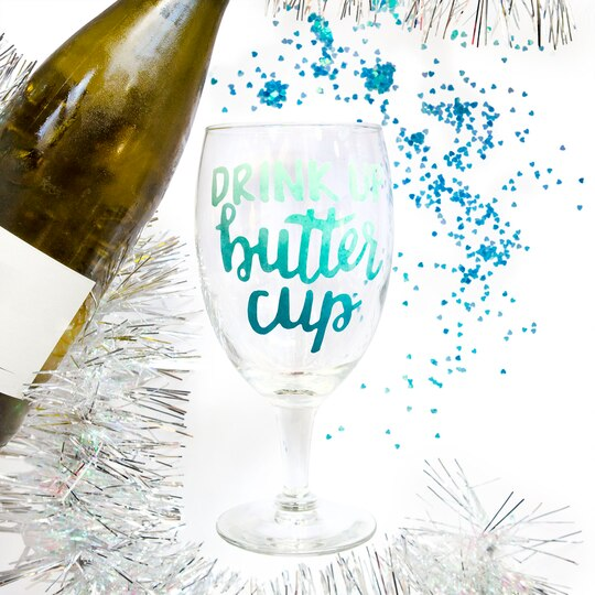 Shop For The Drink Up Buttercup Vinyl Sticker By Recollections At - Vinyl stickers for glass michaels