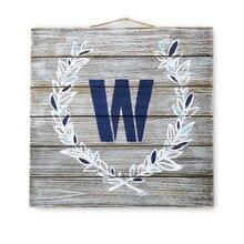Gray Wash Initial Wood Plaque, medium