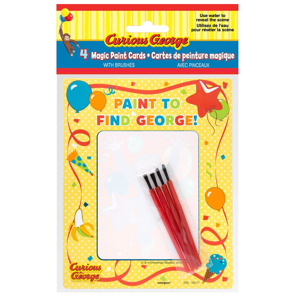 Curious George Watercolor Paint Cards   Curious George Party Favors