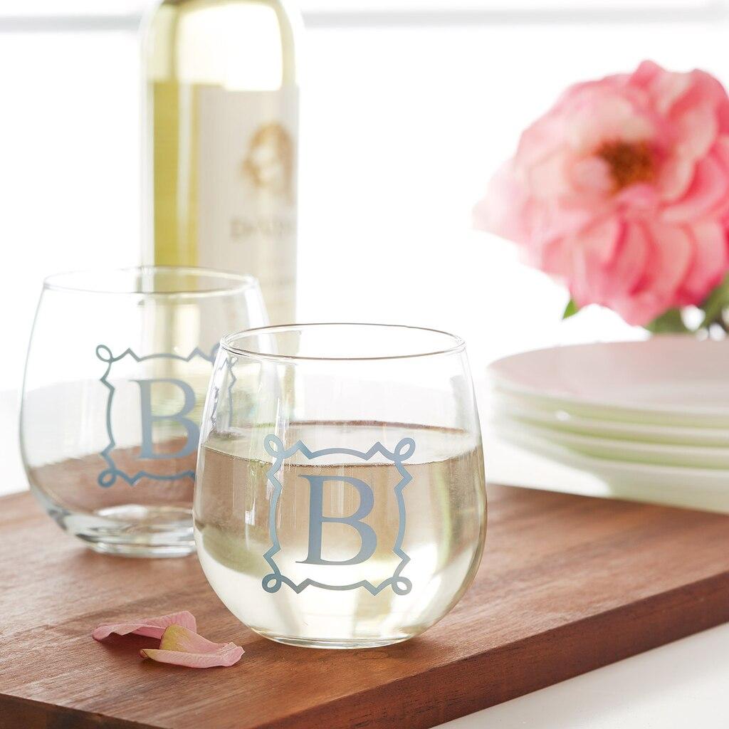 Vinyl Monogram Stemless Wine Glass