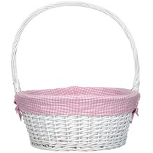 Large Willow Basket With Pink Gingham Liner By Ashland