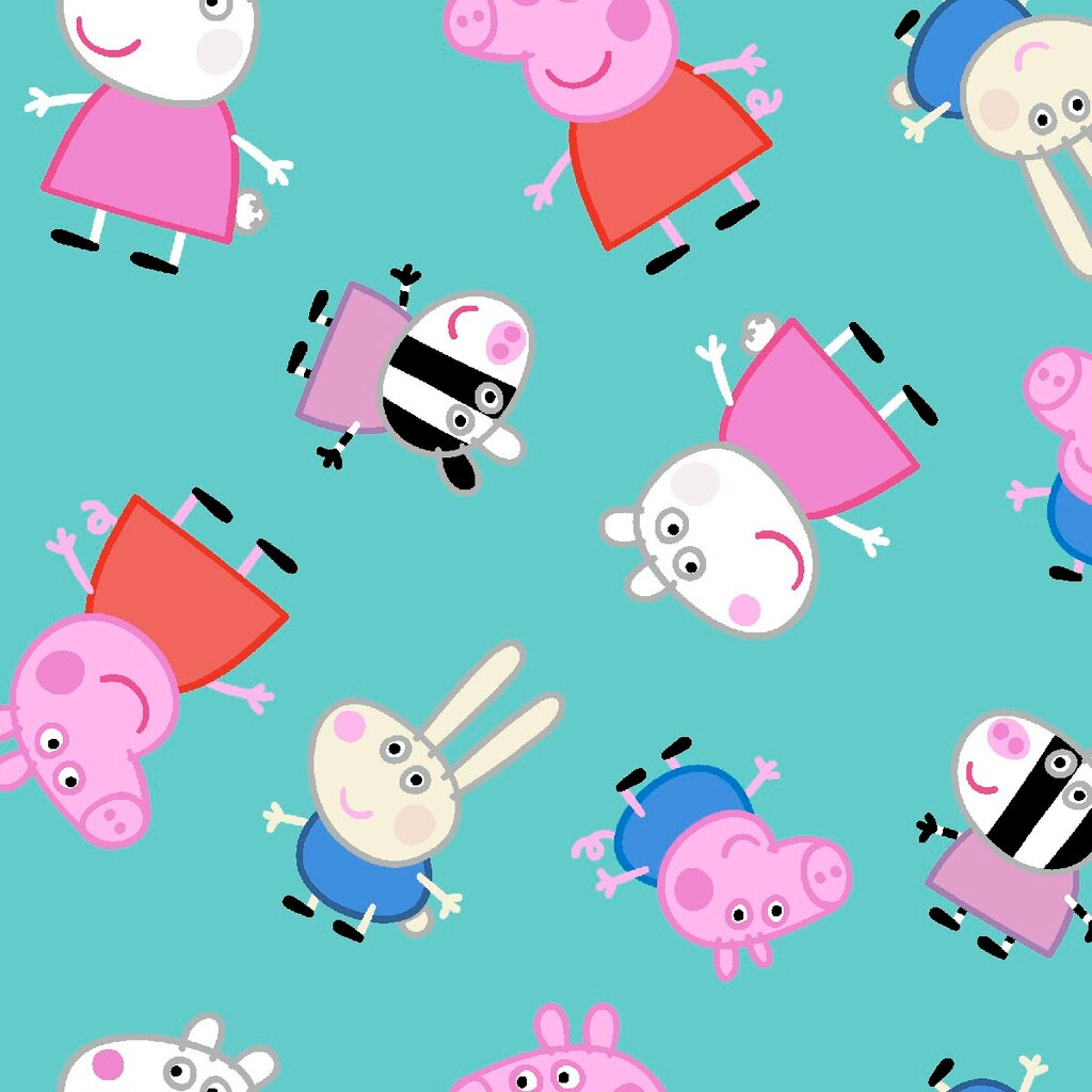 Peppa Pig And Friends Teal Quilting Cotton Fabric