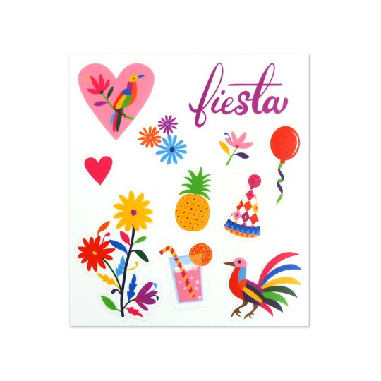 Colorful summer fiesta clear stickers