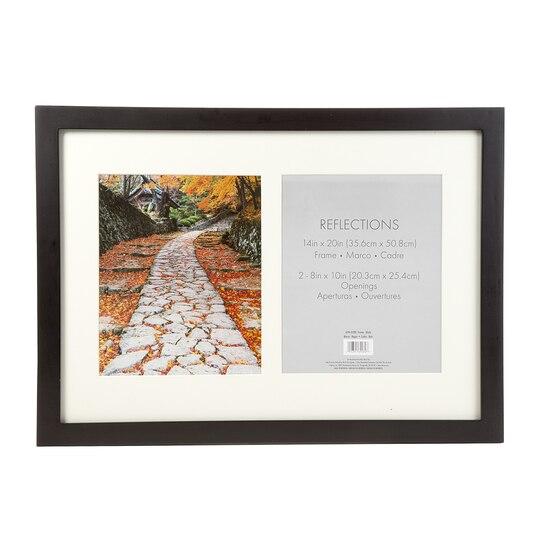2-Opening Flat Collage Picture Frame: Black, 8 x 10 inches