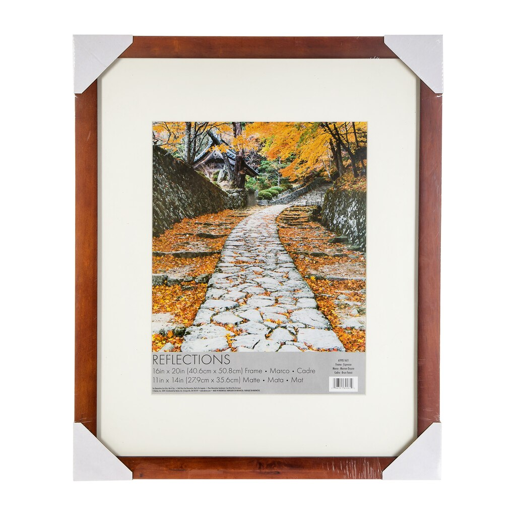 Flat Picture Frame with Matting: Espresso Brown, 11 x 14 in