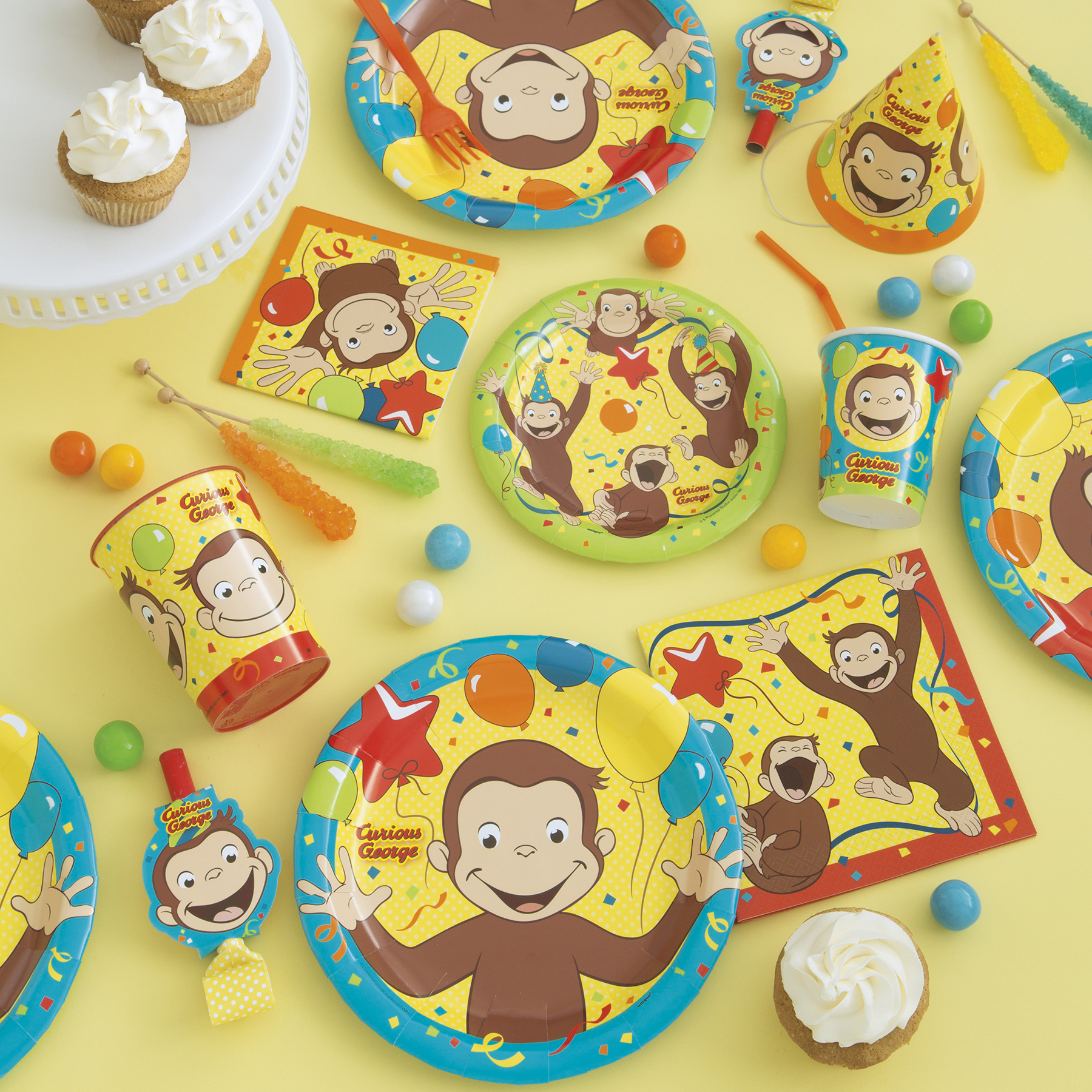 ... 9  Curious George Party Plates 8ct In Use  sc 1 st  Michaels Stores & Curious George Paper Plates | Curious George Party Supplies