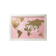 pink gold wooden world map wall decor
