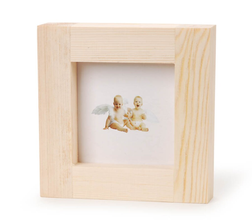 Unfinished Wood Picture Frame: Wide, Square, 4.9 inches