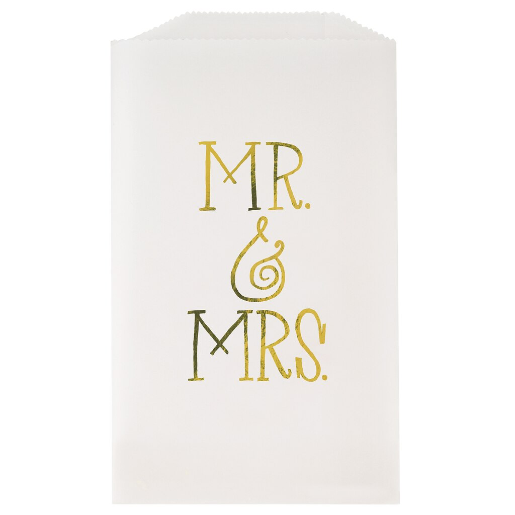 Mr and Mrs Gold Glassine Cookie Bags | Wedding Favors