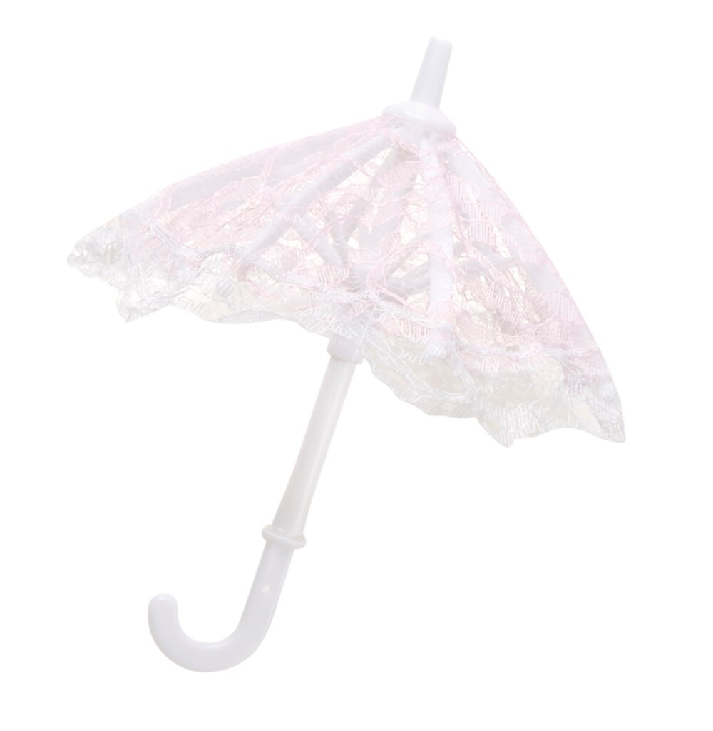 Baby Shower Decorations: Mini Pink Lace Umbrella, 6 pack