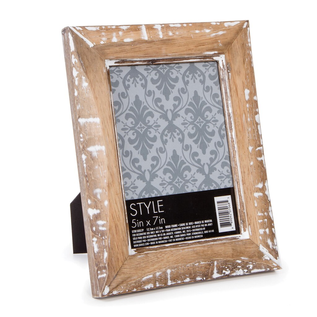 Whitewashed Wood Picture Frame, 5 x 7 inches