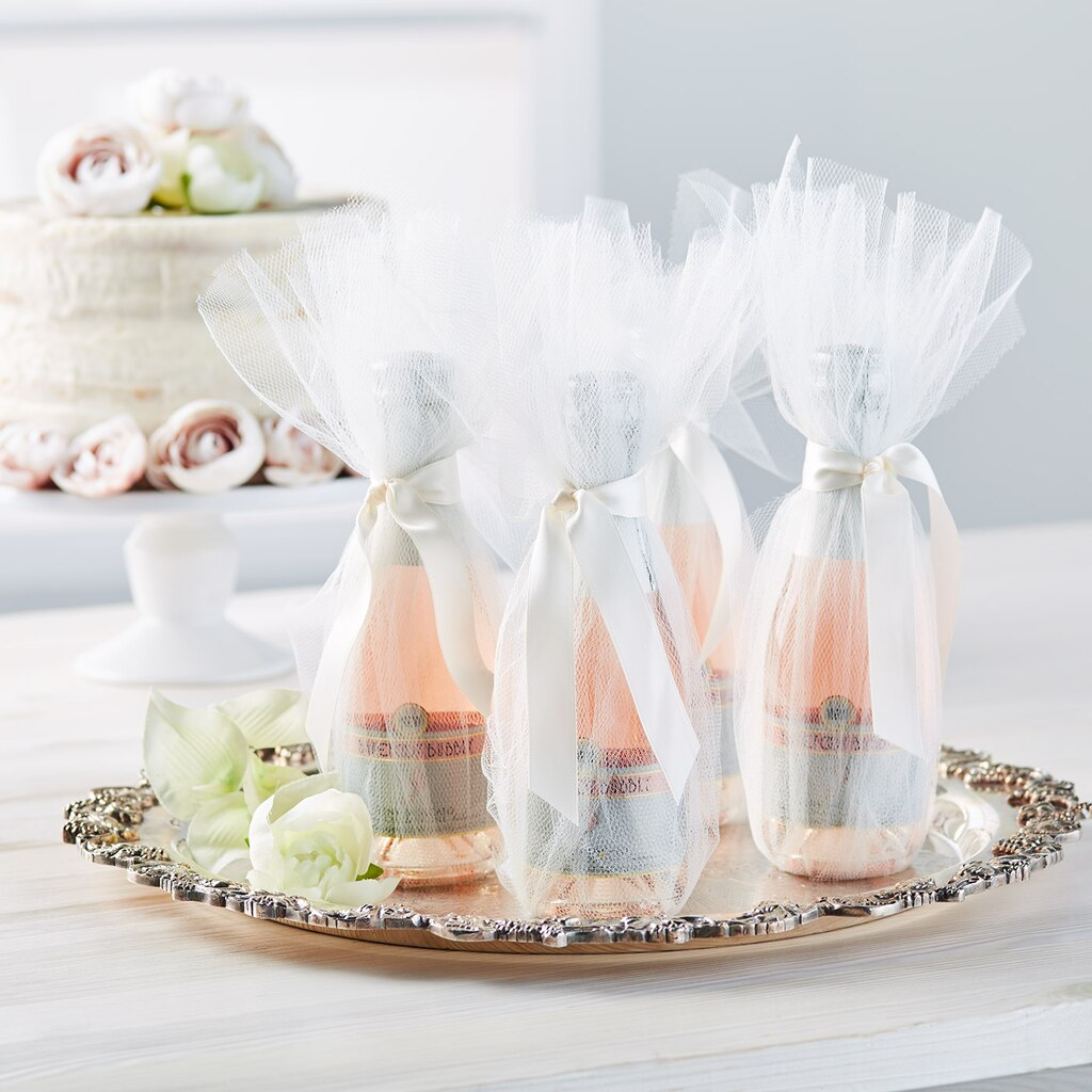 Tulle Champagne Bottle Wedding Favors